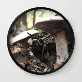 Pair of mushrooms under the Vermont canopy Wall Clock
