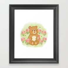 Bees Blossoms And A Bear Framed Art Print