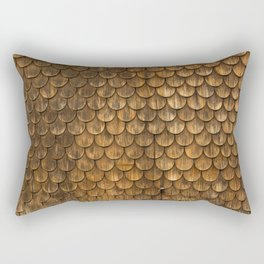 Weathered wall of wooden shingles Rectangular Pillow