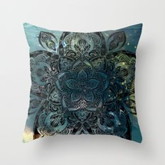 Flower mandala -night Throw Pillow