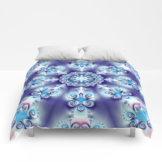 Elegant swirly kaleidoscope design in soft blue, pink, purple and cream Comforters