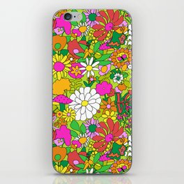 60's Groovy Garden in Lime Green iPhone Skin