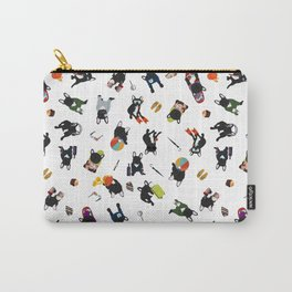 Black & white Frenchie's luxury life pattern  Carry-All Pouch