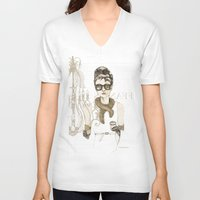 notebook V-neck T-shirts featuring My breakfast at Tiffany's by Cecilia Sánchez
