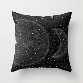 Starry Boho Moons Throw Pillow