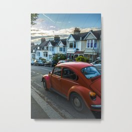 Red Beetle in street Metal Print