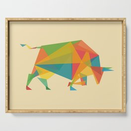 Fractal Geometric Bull Serving Tray