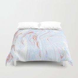 Blue Orange Marble Retro Marble Paper Duvet Cover