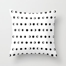 Linocut moon phase black and white minimal college dorm decor basic must haves Throw Pillow