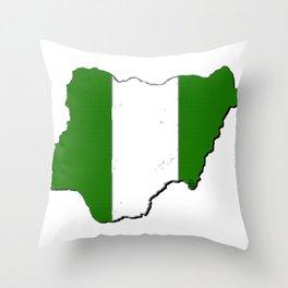 Nigeria Map with Nigerian Flag Throw Pillow