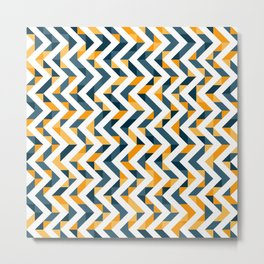 Chevron Oranges and Ink - Geometric Pattern Metal Print