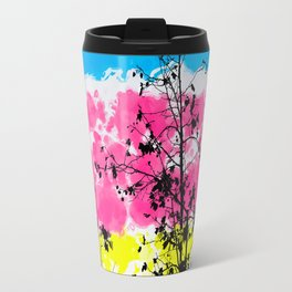 tree branch with leaf and painting texture abstract background in blue pink yellow Travel Mug