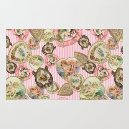 Victorian Romantic  Heart Frames Toss in Vintage Pink + White Striped Paper Rug