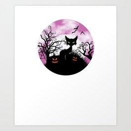 Spooky Black Cat Jack O Lantern Pumpkin Halloween Art Print