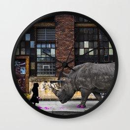 Real Rhinos Wear Pink Wall Clock