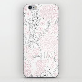 Classy doodles hand drawn floral artwork iPhone Skin