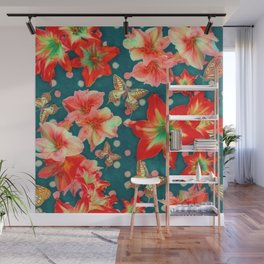 Amaryllis and Butterflies 2 Wall Mural