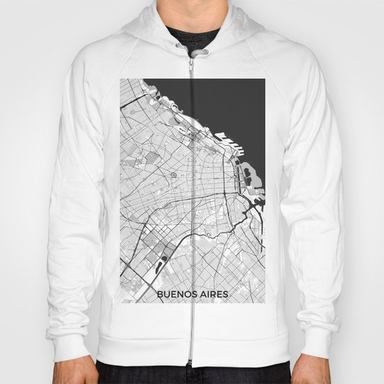 Buenos Aires City Map Gray Hoody