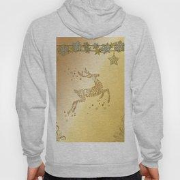 Christmas, beautiful golden reindeer with snowflakes Hoody