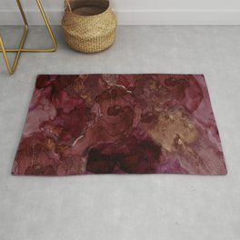 Rose, Burgundy and Merlot Watercolor Flowers Rug