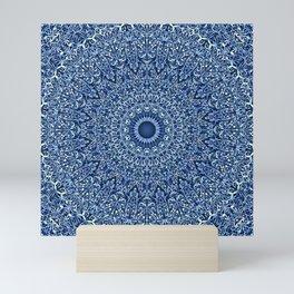 Sacred Blue Garden Mandala Mini Art Print