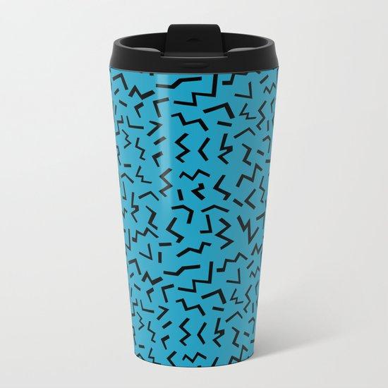 memphis pattern trendy modern pattern print black and blue retro prints Metal Travel Mug