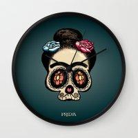 frida Wall Clocks featuring Frida by mangulica illustrations