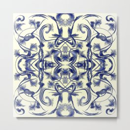 blue and white Digital pattern with circles and fractals artfully colored design for house Metal Print