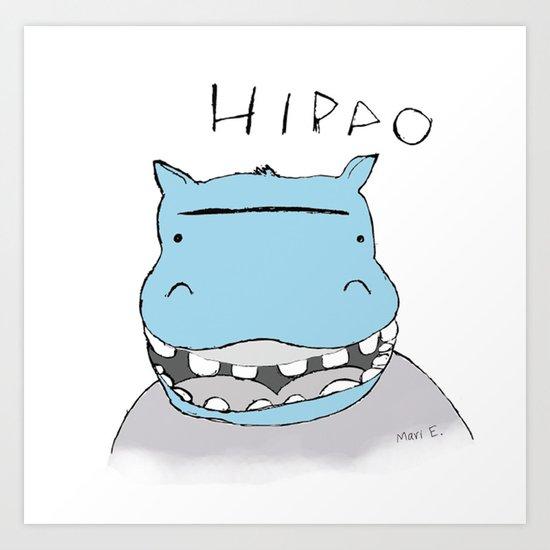 Smiling Hyppo Art Print