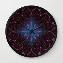 Pink Sunbeam & Blue Diamond Mandala Wall Clock