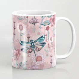 Rose Gold Dragonfly Garden | Pastel Coffee Mug