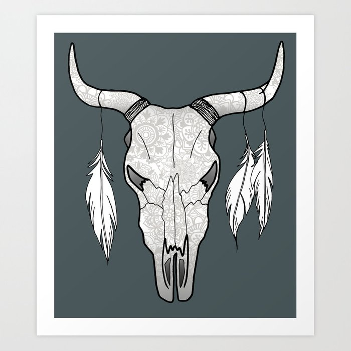 decorated bull skull art print by julieerindesigns society6
