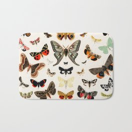 Butterfly Butteflies Mariposa Mariposas Papillon Papillons - Vintage Book Illustration Bath Mat