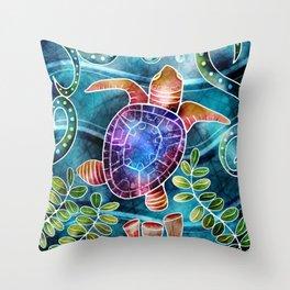 Batik Sea Turtle  Throw Pillow