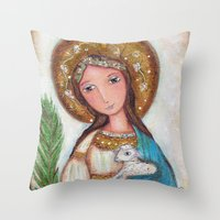 agnes Throw Pillows featuring Saint Agnes by Flor Larios Art