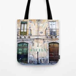 Antique Facade of Sicily Tote Bag