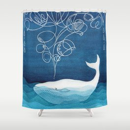 Happy whale, animals sea creature, teal blue watercolor Shower Curtain