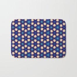 Gorgeous Blue and Gold Beaded Geometric Pattern Bath Mat