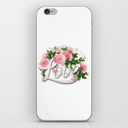 Love Pink Floral Roses iPhone Skin