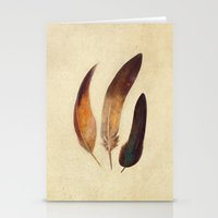 feathers Stationery Cards featuring Three Feathers  by Terry Fan