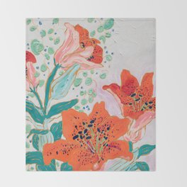 Orange Lily Throw Blanket
