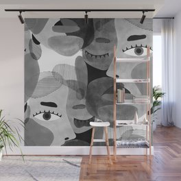 Abstract woman face with eyes in B&W illustration Wall Mural