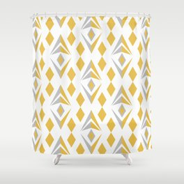 Geometric Tribal Boho pattern in light summer grey-yellow palette Shower Curtain