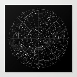 Constellation Map - Black & White Canvas Print