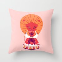 be brave Throw Pillows featuring Brave by Carolina Búzio