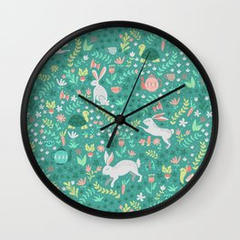 Spring Pattern of Bunnies with Turtles Wall Clock