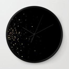 Black and Gold Confetti Brushstroke Watercolor Polka Dots Wall Clock