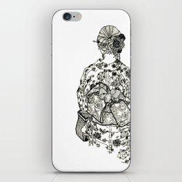 Geometric Black and White Drawing Japanese Yukata Kimono iPhone Skin