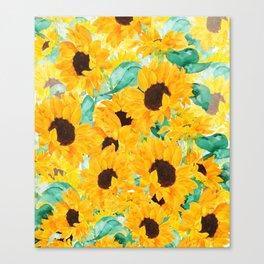 watercolor sunflower pattern 2019 Canvas Print
