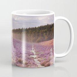II - Path through blooming heather at sunrise, Posbank, The Netherlands Coffee Mug